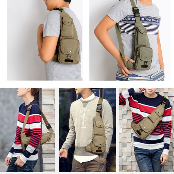 Men's Canvas Leisure Outdoor Travel Chest Pocket Shoulder Bag
