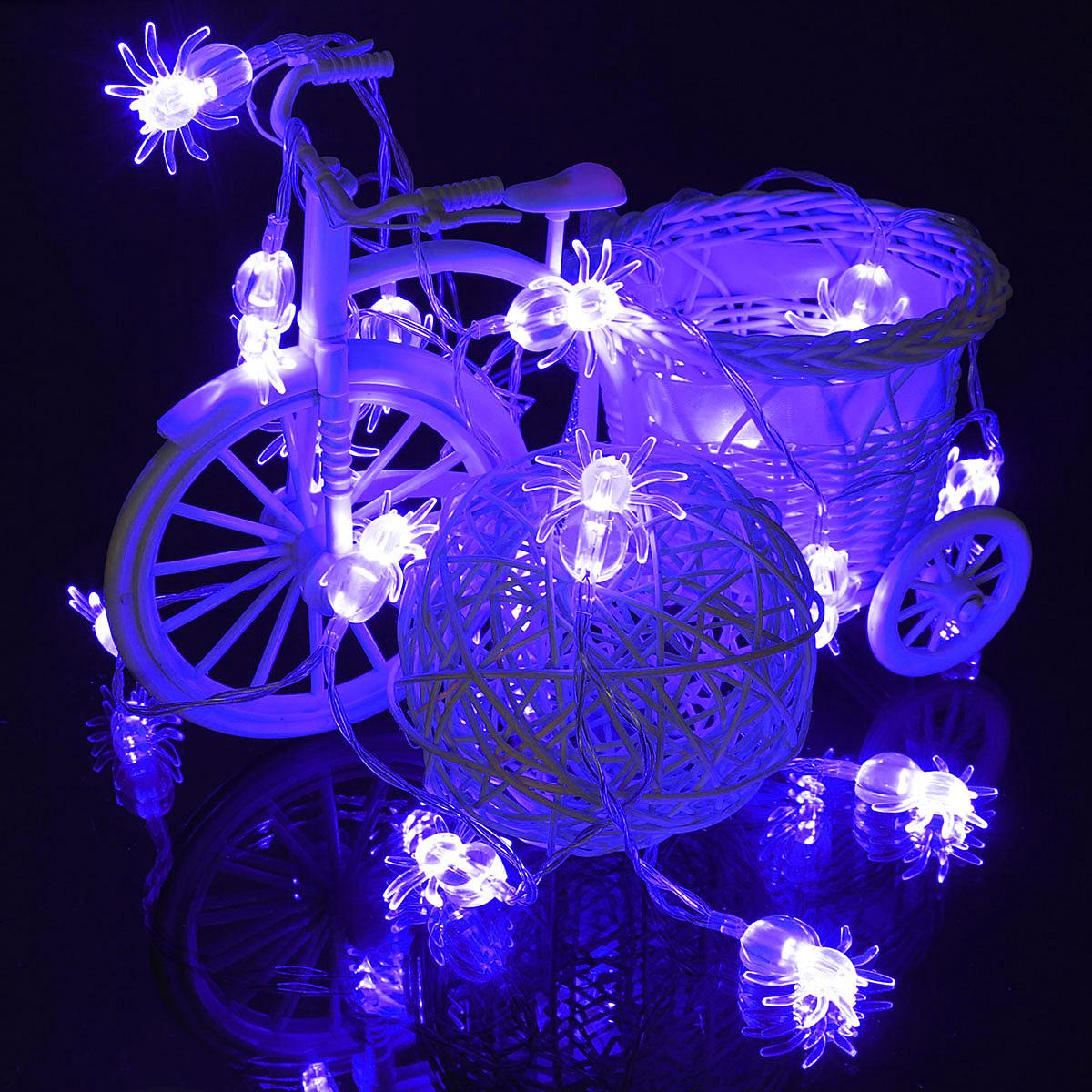 20 Blue LED Spider Light Halloween Party Decration Lights