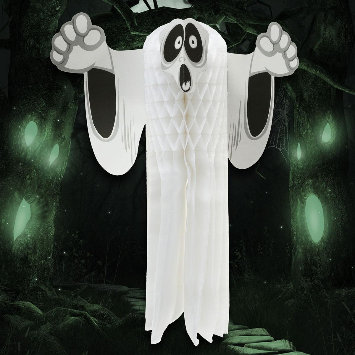 Fiesta de halloween prop parecida al papel plegable colgando sudario fantasma decoración de la puerta de suspensión
