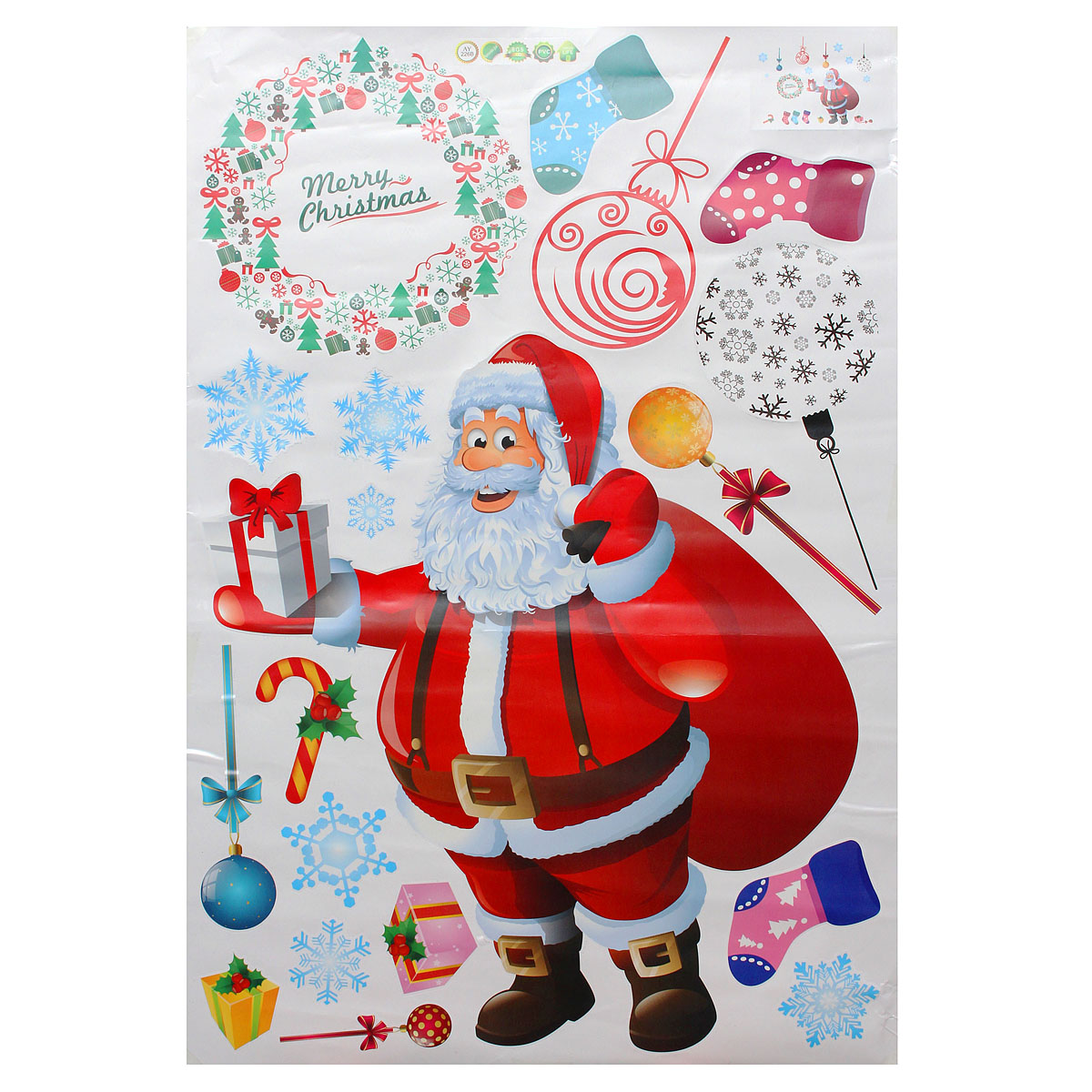 Christmas Santa Claus Gift Removable Wall Sticker DIY Window Door Home Decoration