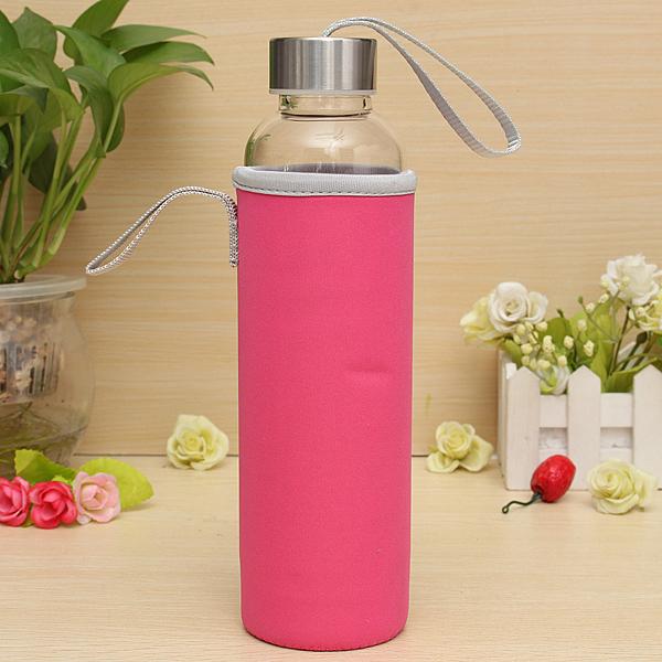 ببا زجاج في الهواء الطلق الرياضة زجاجة المياه مع فلتر الشاي حقيبة واقية 550ML