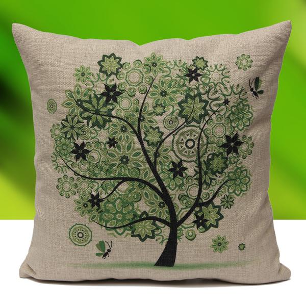 Home Decor Life Tree Cotton Linen Waist Throw Pillow Case Sofa Cushion Cover