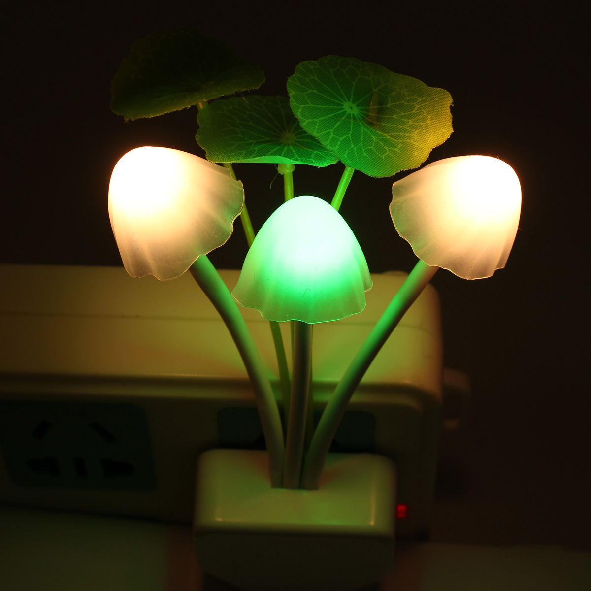 AC 220V Romantic Colorful Sensor LED Mushroom Night Light