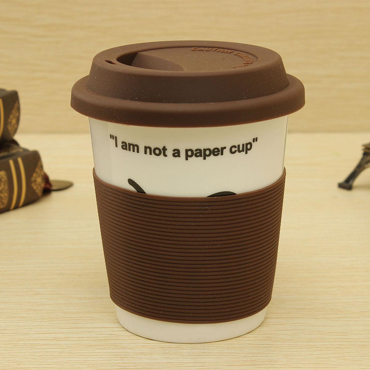 Funny Cute Silicone Design Ceramic Coffee Tea Water Outdoor Travel Cup Mug 330ML
