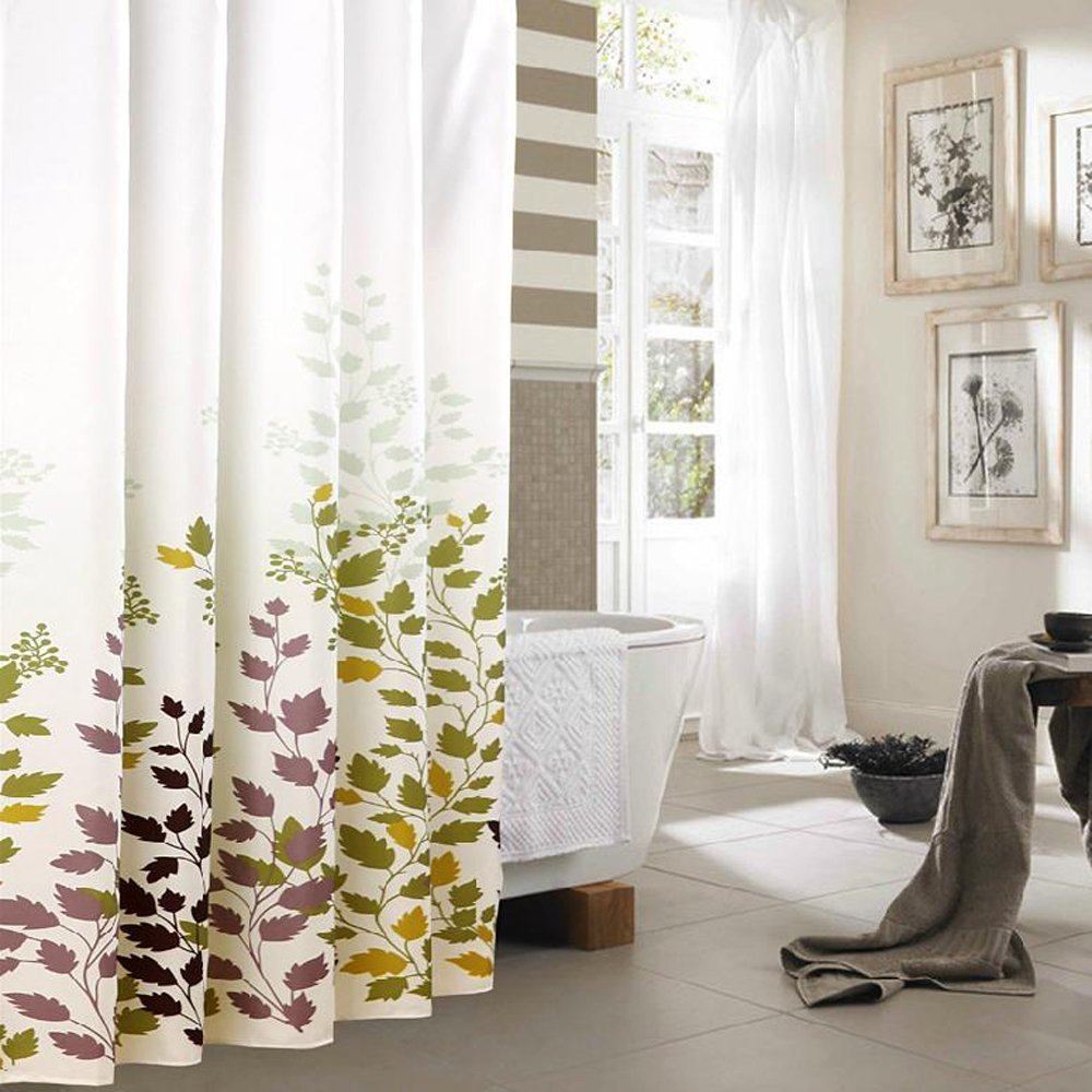 Water Resistant Fabric Shower Curtains Maple Leaf Home