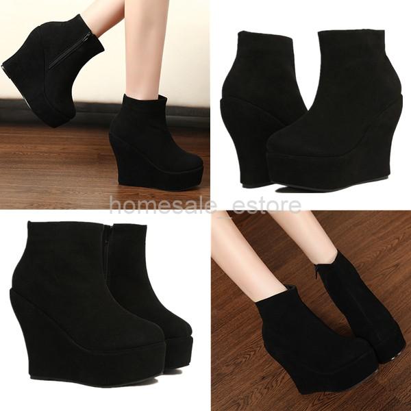 damen schwarz keilabsatz stiefel stiefeletten ankle boots. Black Bedroom Furniture Sets. Home Design Ideas