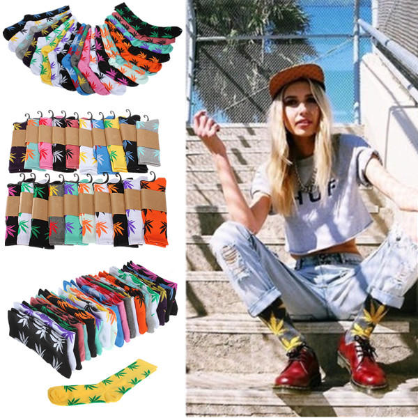 Men-Women-Plantlife-Marijuana-Weed-Maple-Leaf-Cotton-High-Ankles-Socks-20-Colors