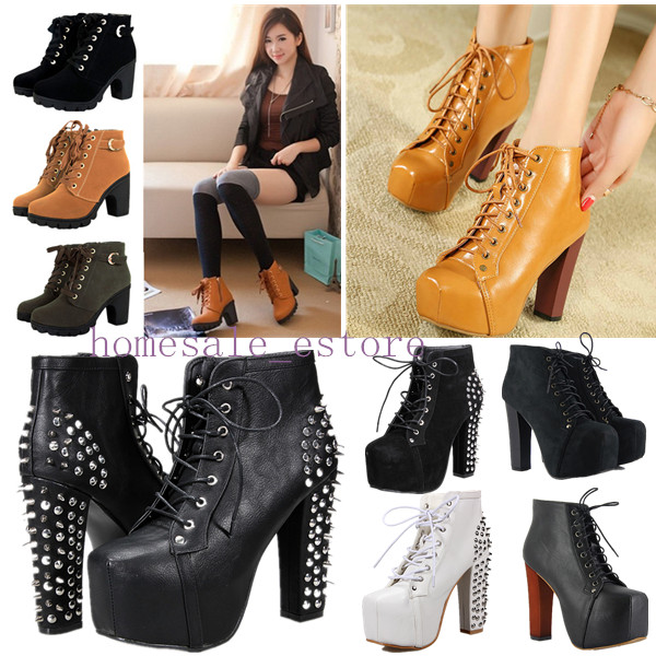 Sexy Women Girls Ankle Boots High Heel platform Strappy Lace Up ...
