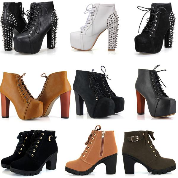 Exceptionnel Femme Bottines Chaussures Cheville Clouté Talon Haut Plateform  ED02