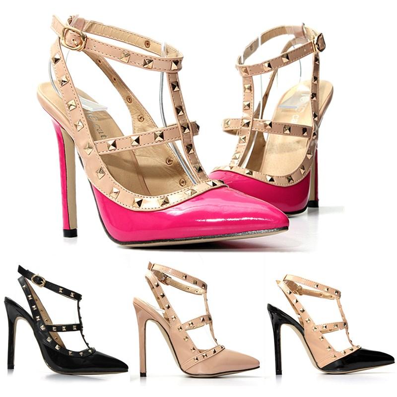 damenschuhe riemchen pumps high heels nieten spitze lack. Black Bedroom Furniture Sets. Home Design Ideas