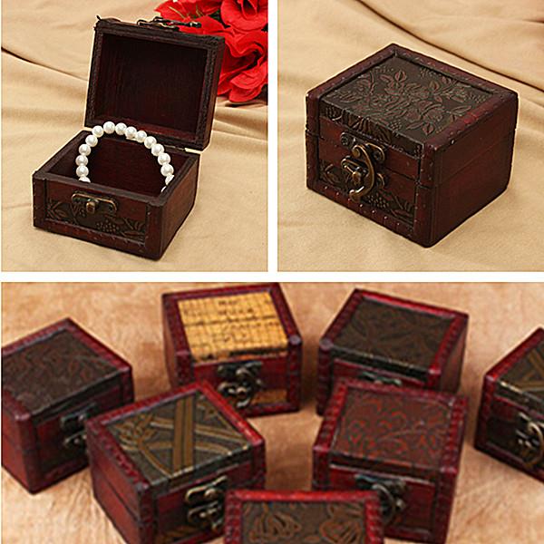 style r tro petit bo te caisse bois bijoux cadeaux rangement cadenas m tal achat vente boite. Black Bedroom Furniture Sets. Home Design Ideas