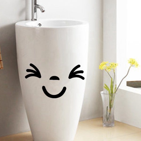 Fsh smiling face funny sticker wall home bathroom toilet for Bathroom accessories lazada