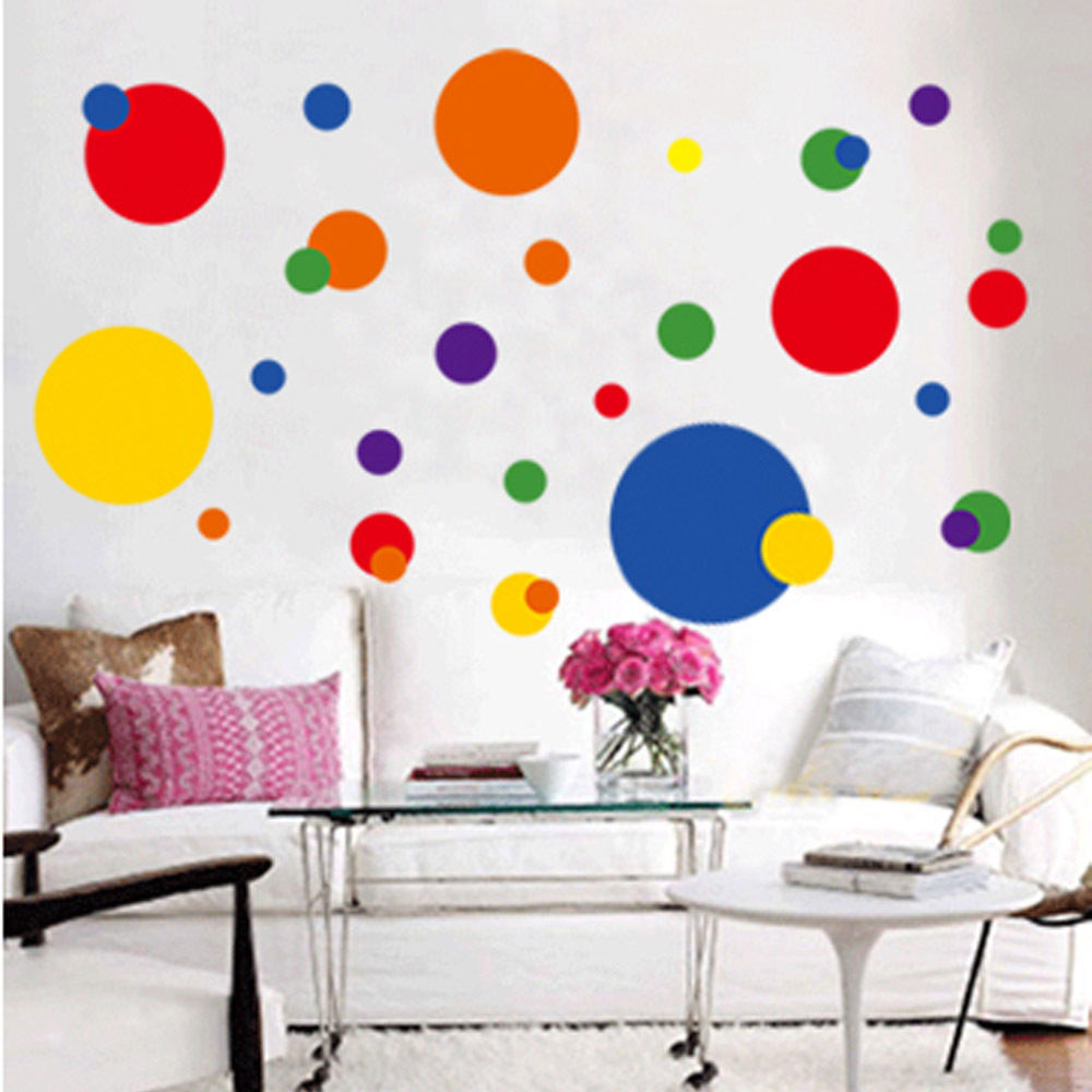 Vinyl art removable circle polka dots wall sticker decal for Polka dot living room ideas