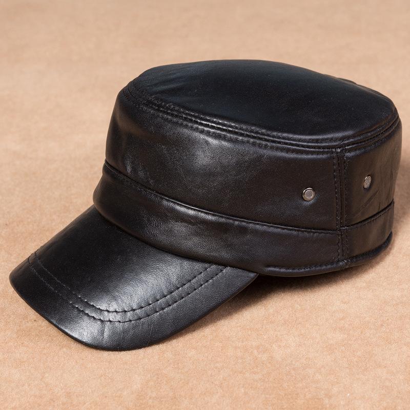 mens womens black solid leather biker flat cap adjustable