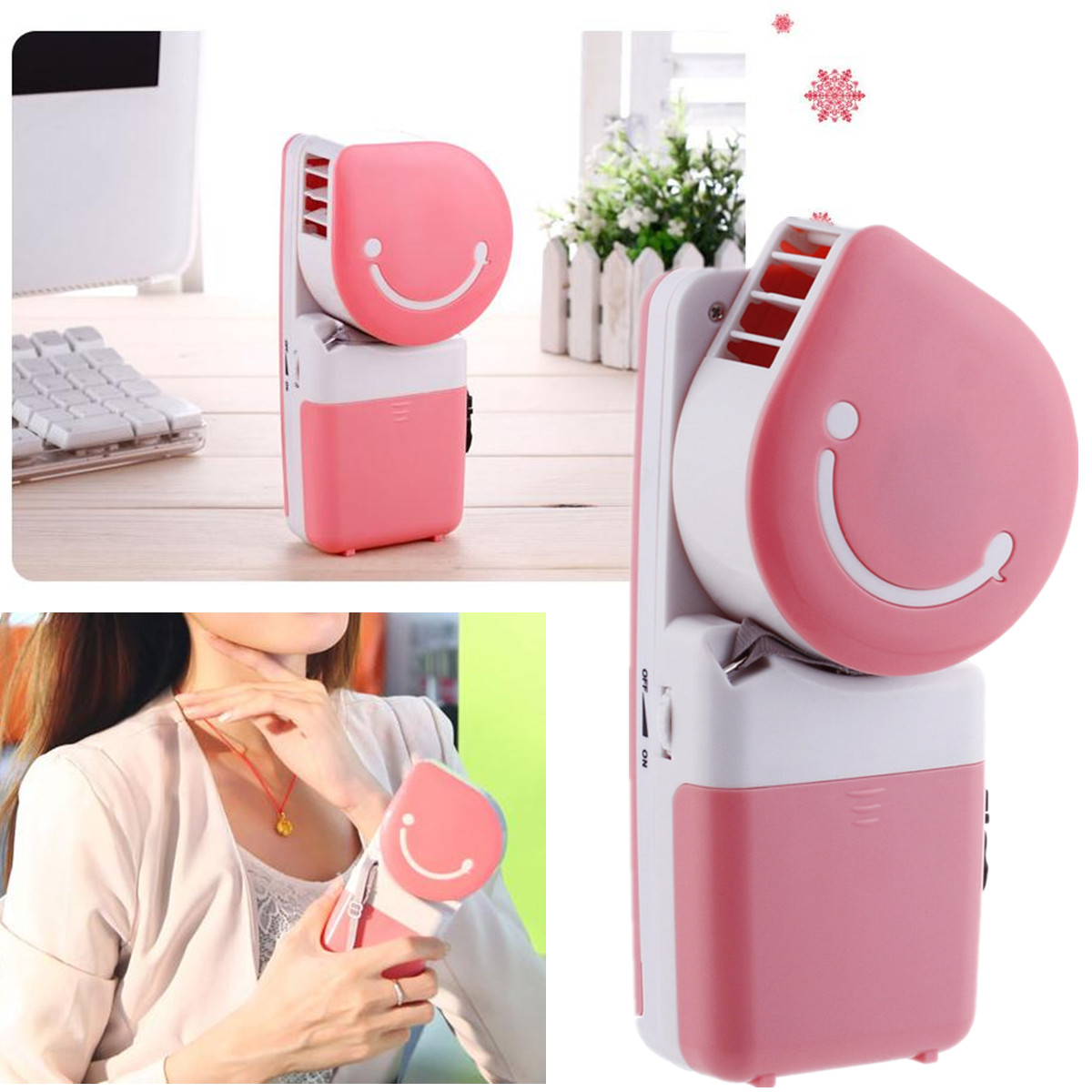 of USB Portable Hand Held Air Conditioner Cooler Cooling Fan (Pink #9D522E