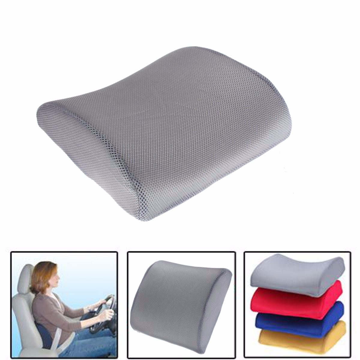 Memory foam lumbar back support cushion pillow for office home car seat chair grey lazada - Best back pillow for office chair ...
