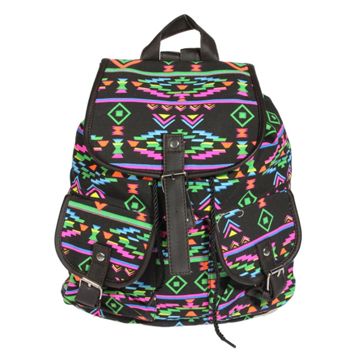 retro women travel canvas backpack rucksack shoulder. Black Bedroom Furniture Sets. Home Design Ideas