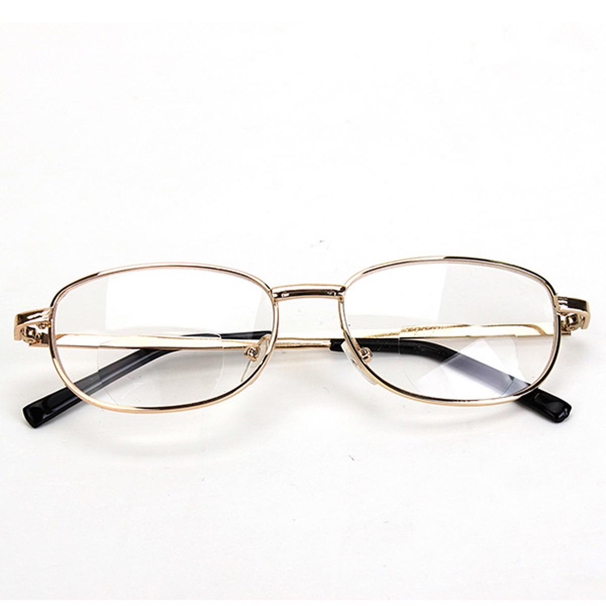 Fashion Bifocal Lens Rimmed Mens Reading Glasses Gold ...