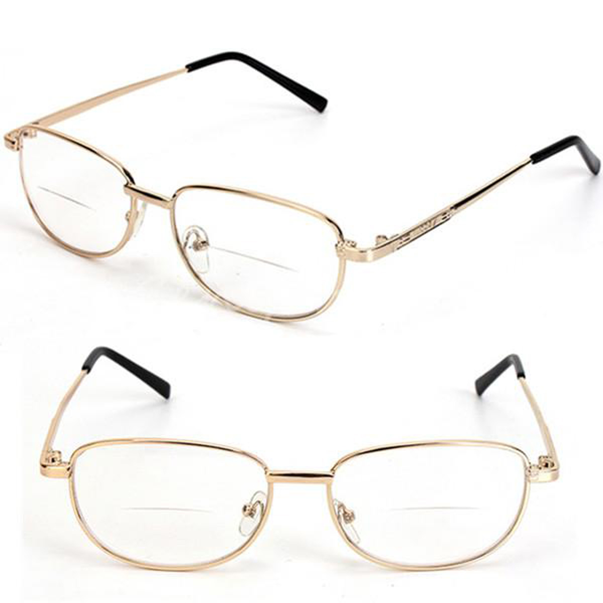 Glasses Frames In Gold : Fashion Bifocal Lens Rimmed Mens Reading Glasses Gold ...