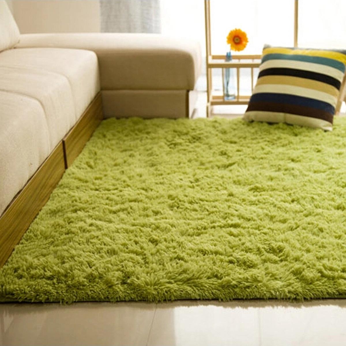 shaggy anti skid carpets rugs floor mat cover 80x120cm grass green