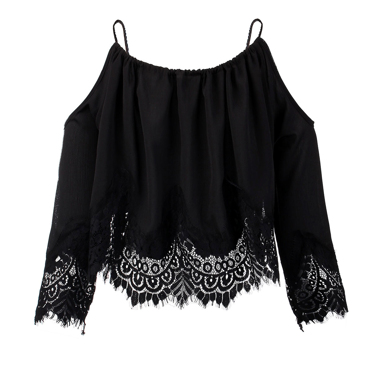 Ladies Lace Embroidery Crochet Peplum Cropped Tops