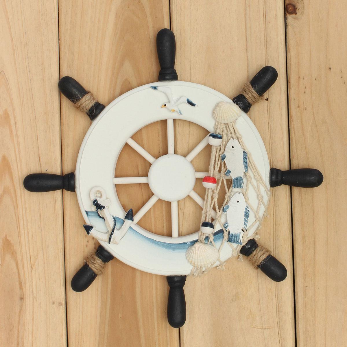 Wood Sailboat Wall Decor : Wood boat ship wheel nautical decoration beach home rudder