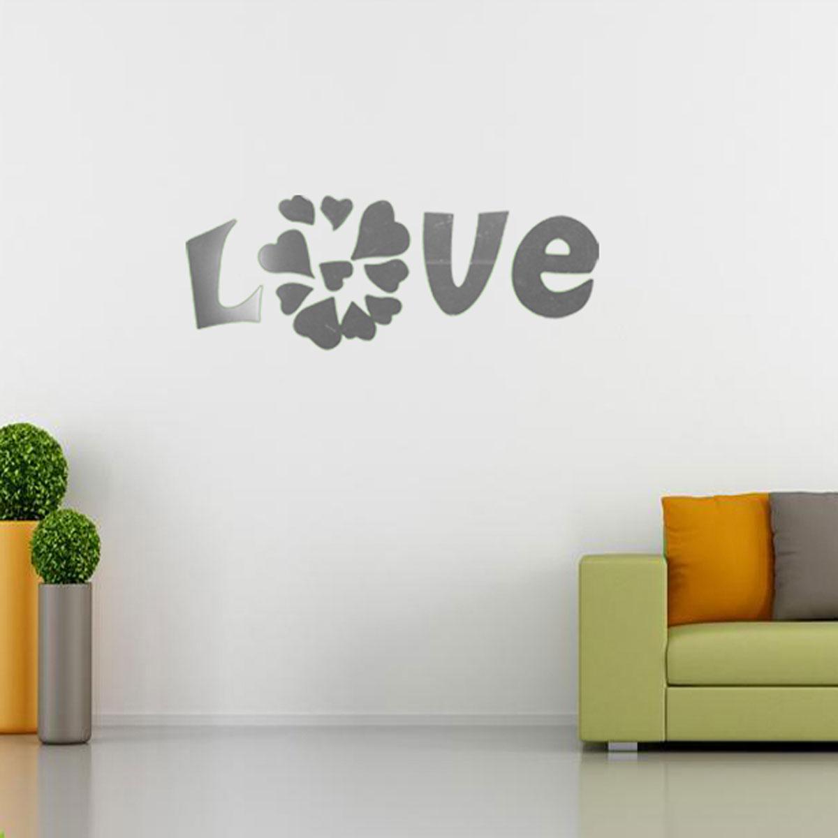Diy love modern acrylic mirror effect wall sticker decal for Room decor lazada