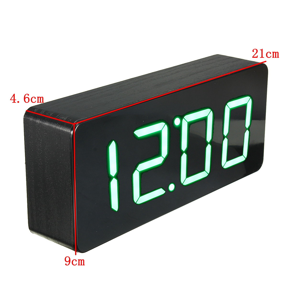 acryl spiegel wooden holz digital led wecker clock uhr zeit kalender thermometer black. Black Bedroom Furniture Sets. Home Design Ideas