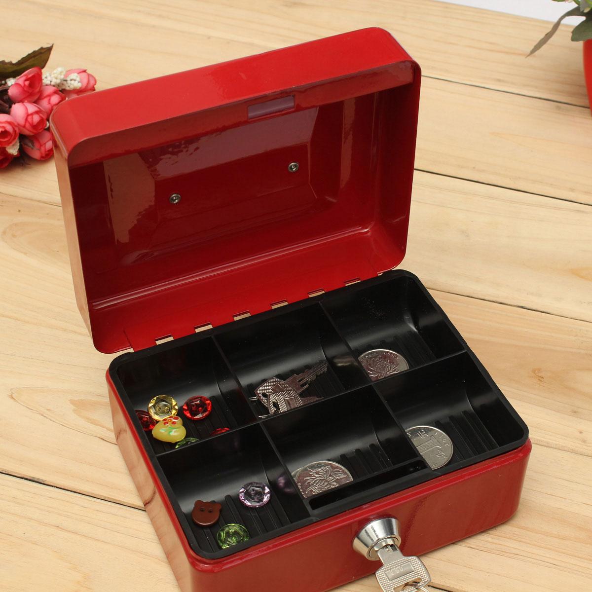 Metal petty cash box handle change desposit money holder for Home money box