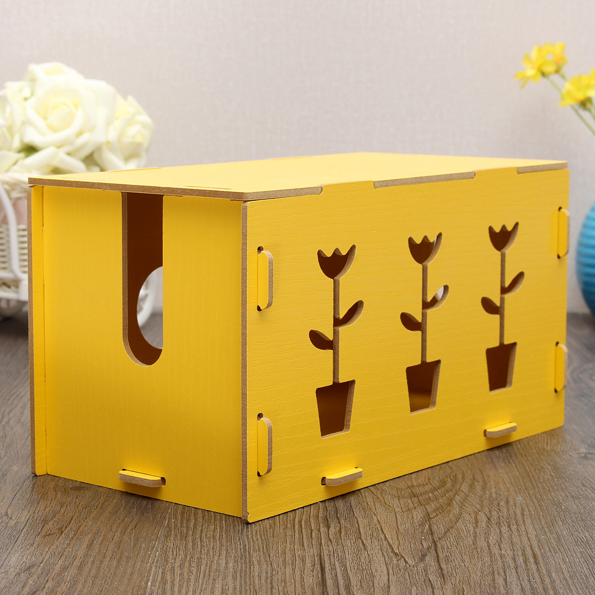 home wooden handmade diy cable jewelry storage box container yellow lazada singapore. Black Bedroom Furniture Sets. Home Design Ideas