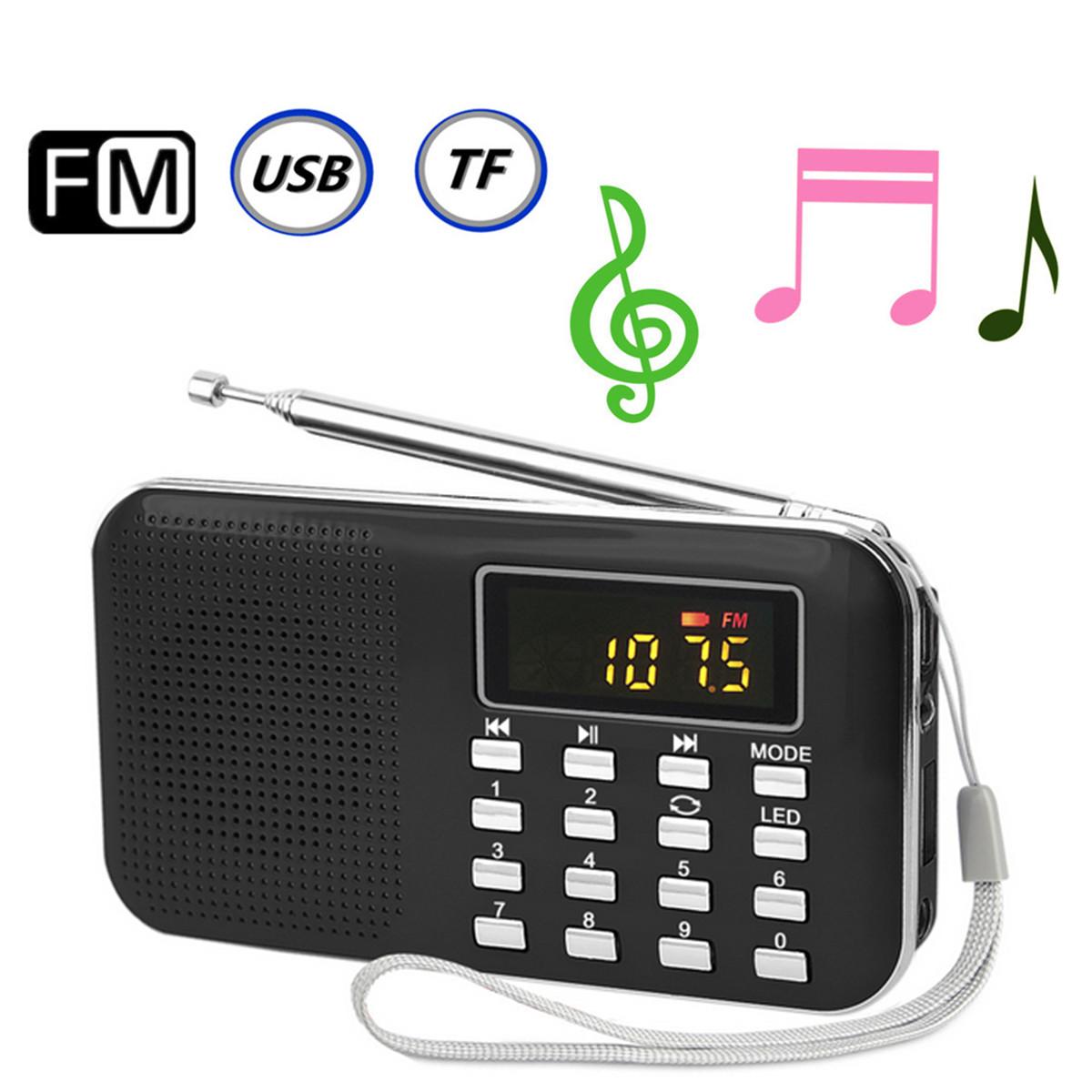 mini portable led digital fm radio speaker usb micro sd tf card mp3