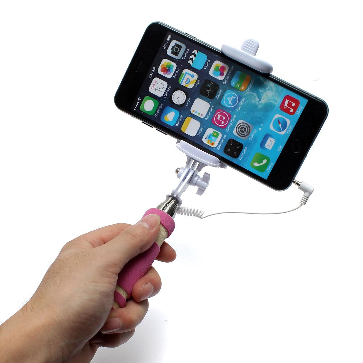extendable handheld selfie stick wired remote shutter monopod for phone pink lazada ph. Black Bedroom Furniture Sets. Home Design Ideas