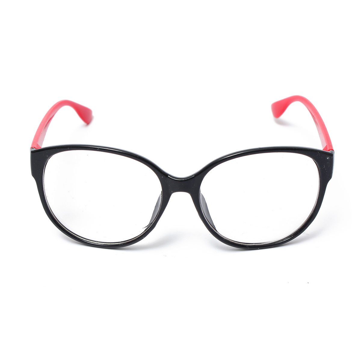 Retro Round Lens Eyeglass Frame Decoration Black-Red ...