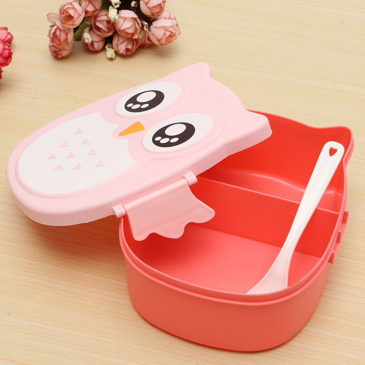 owl lunch bento box plastic cartoon lunch box food container bento box pink. Black Bedroom Furniture Sets. Home Design Ideas