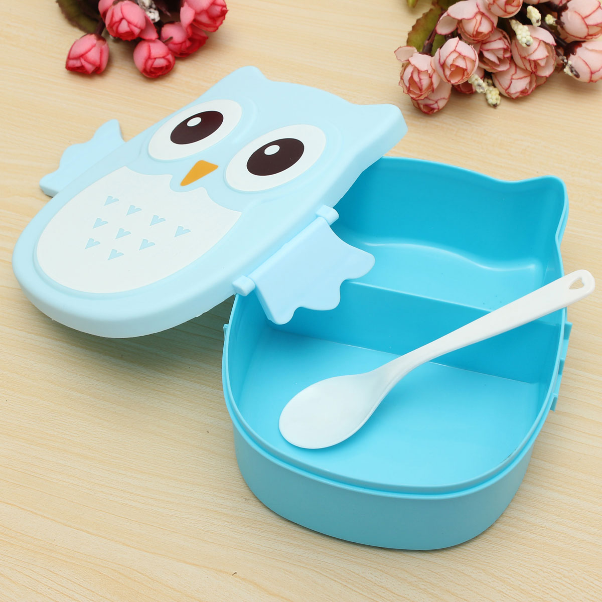 owl lunch bento box plastic cartoon lunch box food container bento box blue lazada malaysia. Black Bedroom Furniture Sets. Home Design Ideas