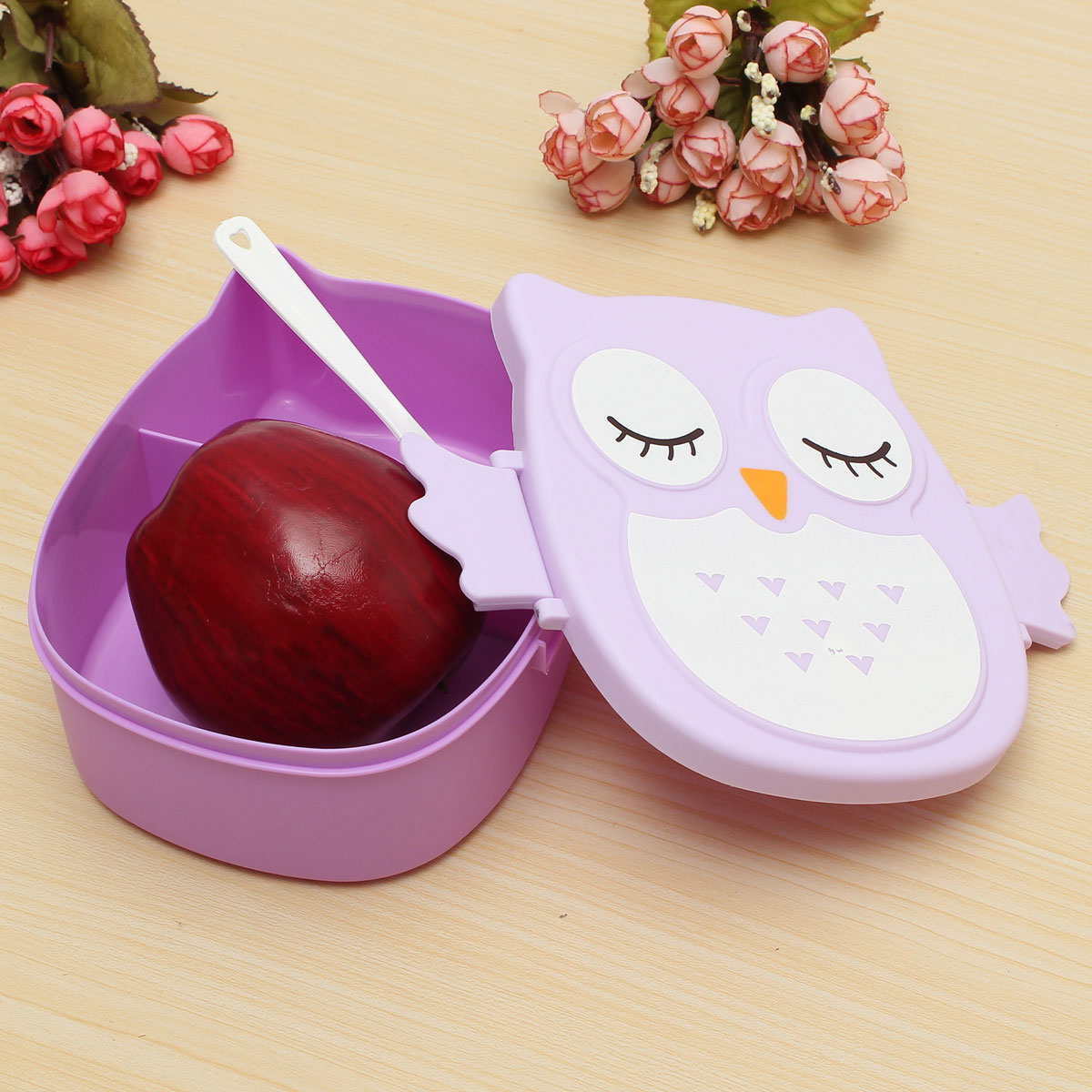 owl lunch bento box plastic cartoon lunch box food container bento box purple. Black Bedroom Furniture Sets. Home Design Ideas