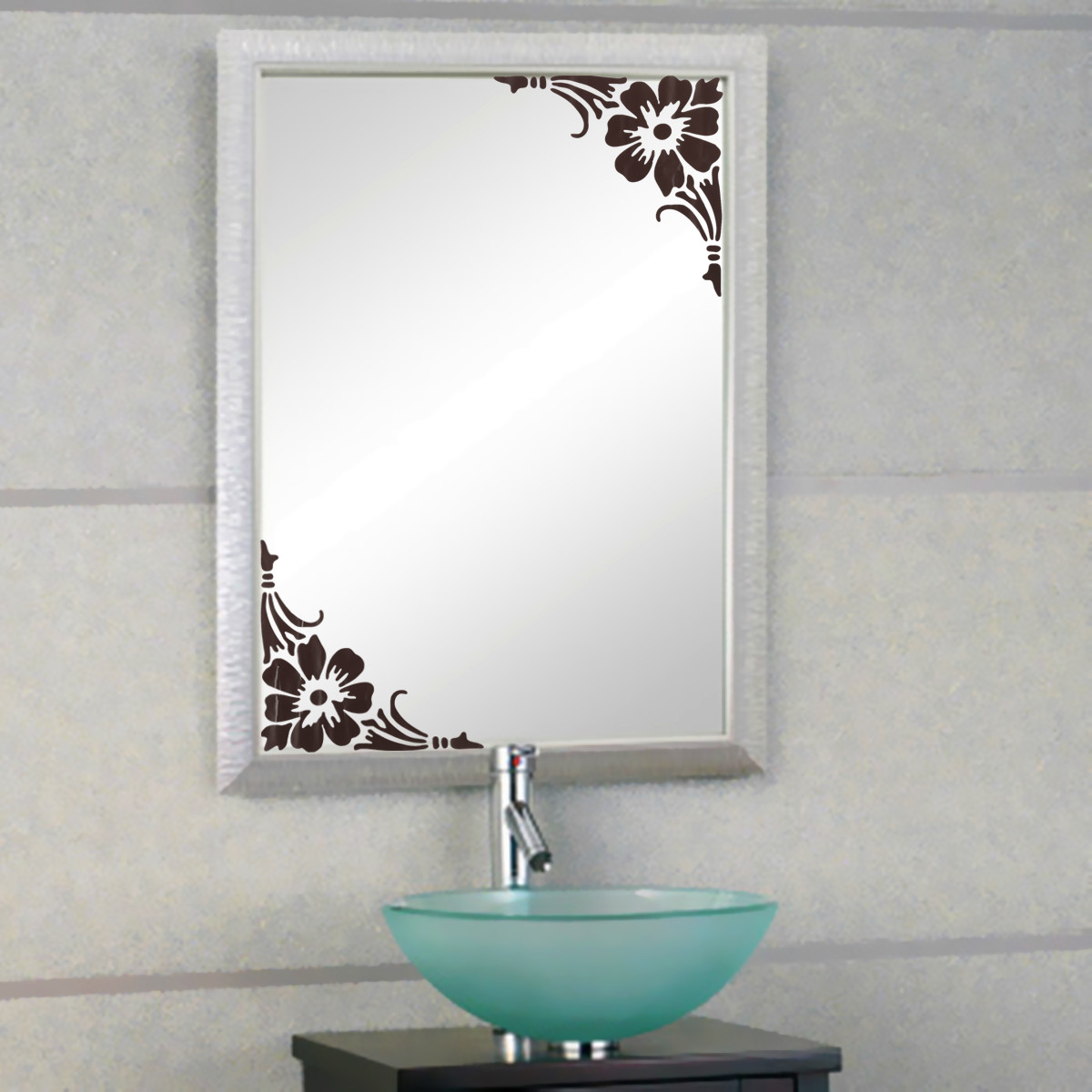 Showcase glass window bathroom mirror wall 2 corner for Sticker miroir salle de bain