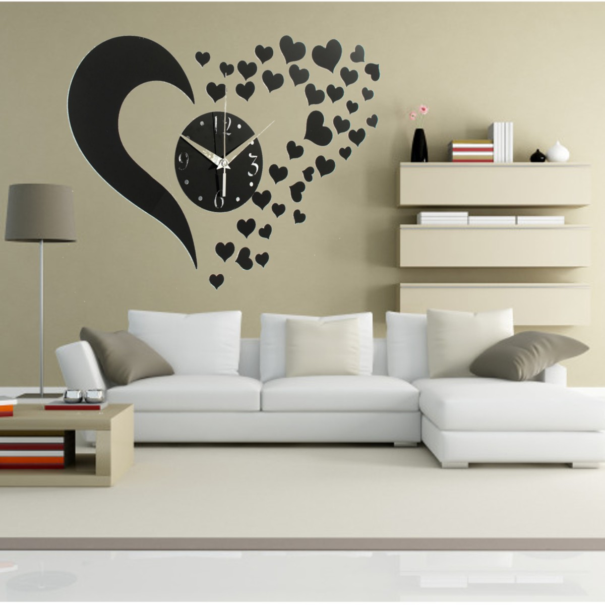 Five star store diy fashion wall clock 3d love sticker for Room decor lazada