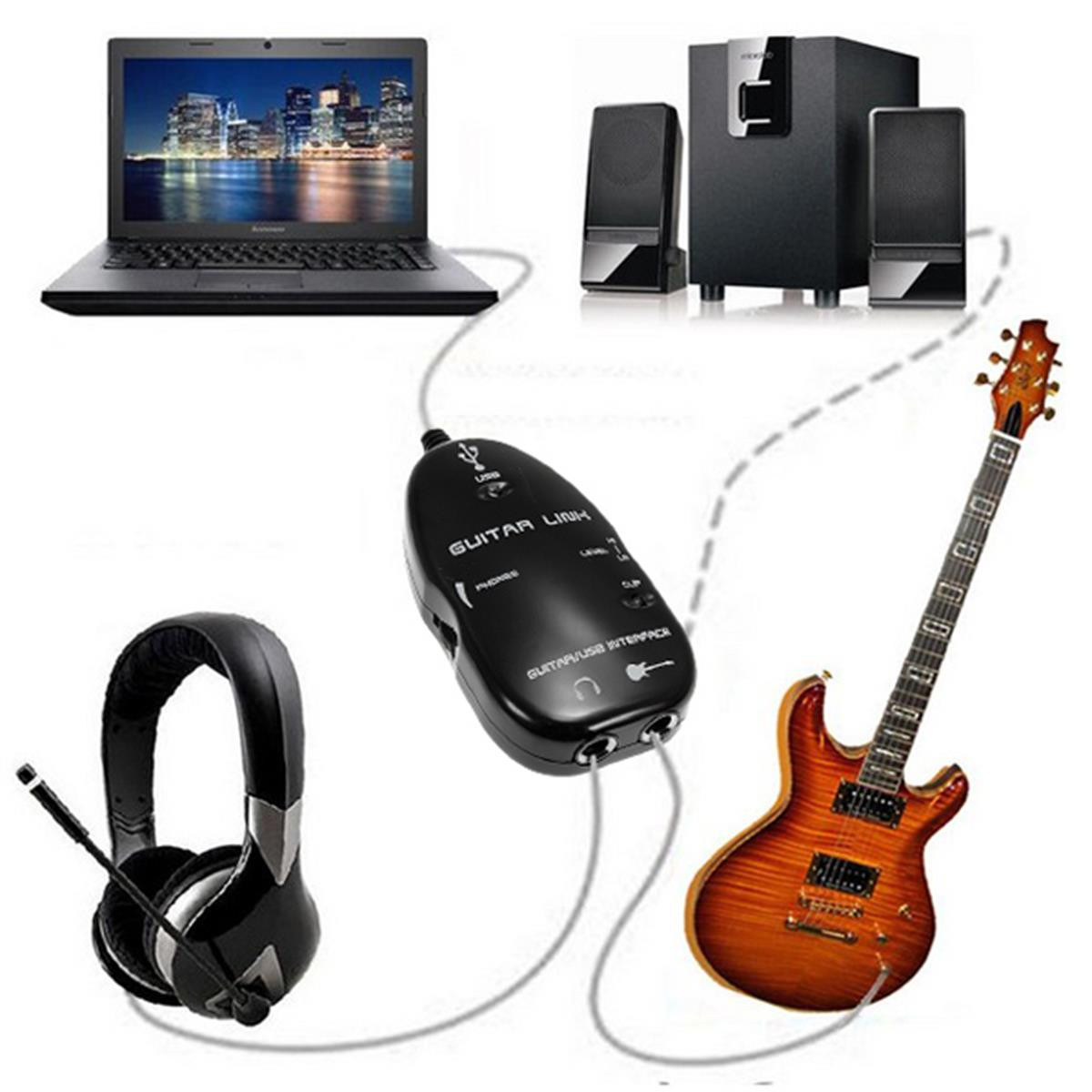 usb guitar to laptop pc mac interface audio link cable lead playback recording audew lazada ph. Black Bedroom Furniture Sets. Home Design Ideas