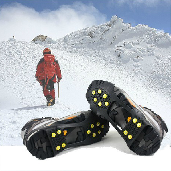 Hot sale pair ice snow shoe spikes grips crampons cleats for Ice fishing cleats