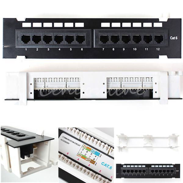 12 port 10 inch 110 network cat6 rj45 wall surface mount patch panel bracket ebay