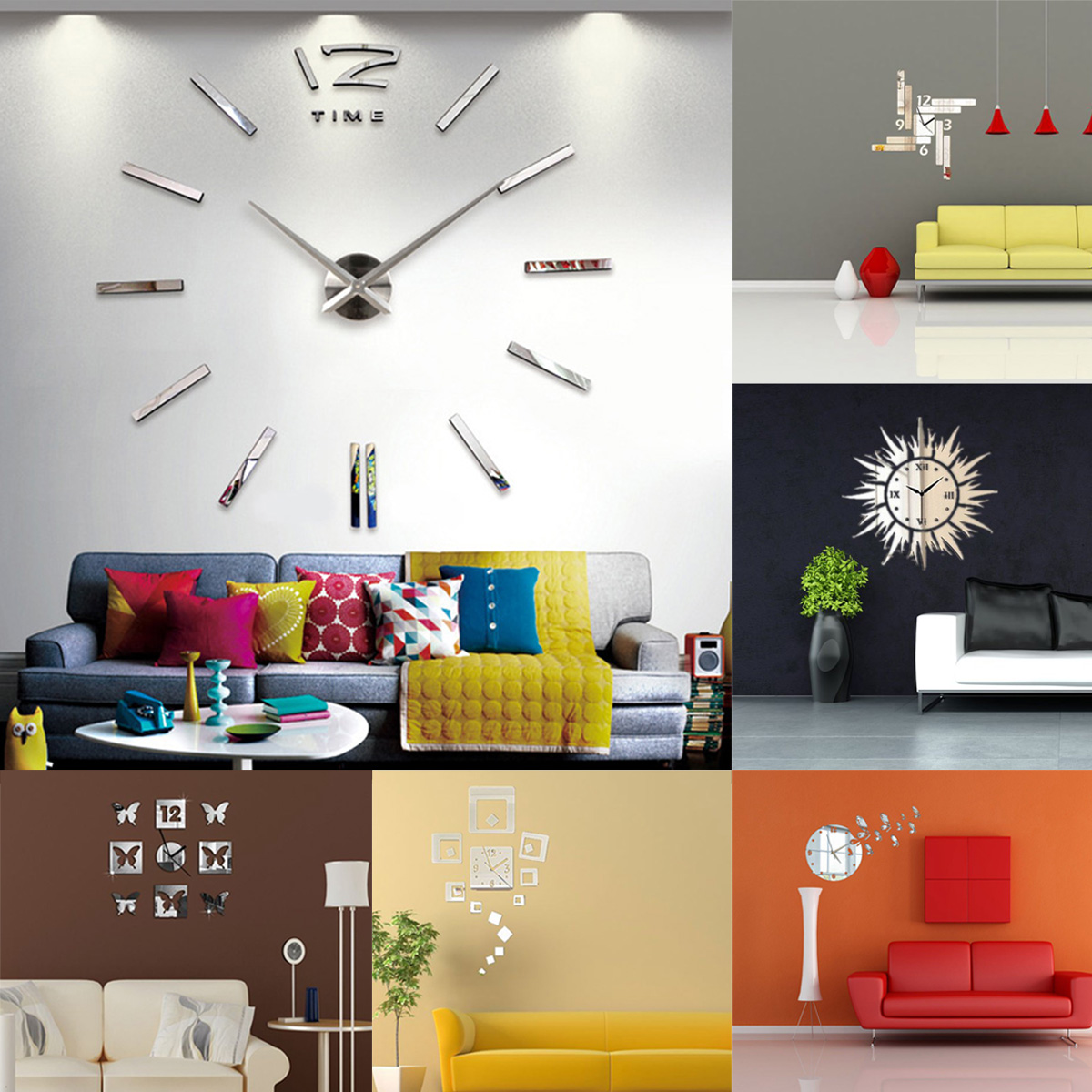 Luxury Large Wall Clock Home Office Diy 3d Home Decor Decal Mirror Silver Lazada Singapore
