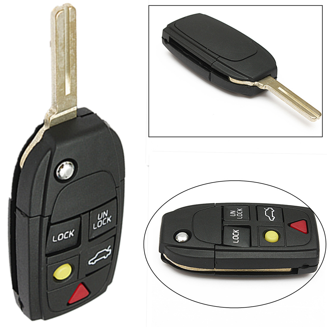 New 5 Button Remote Key Fob Case Flip Blade For Volvo S80