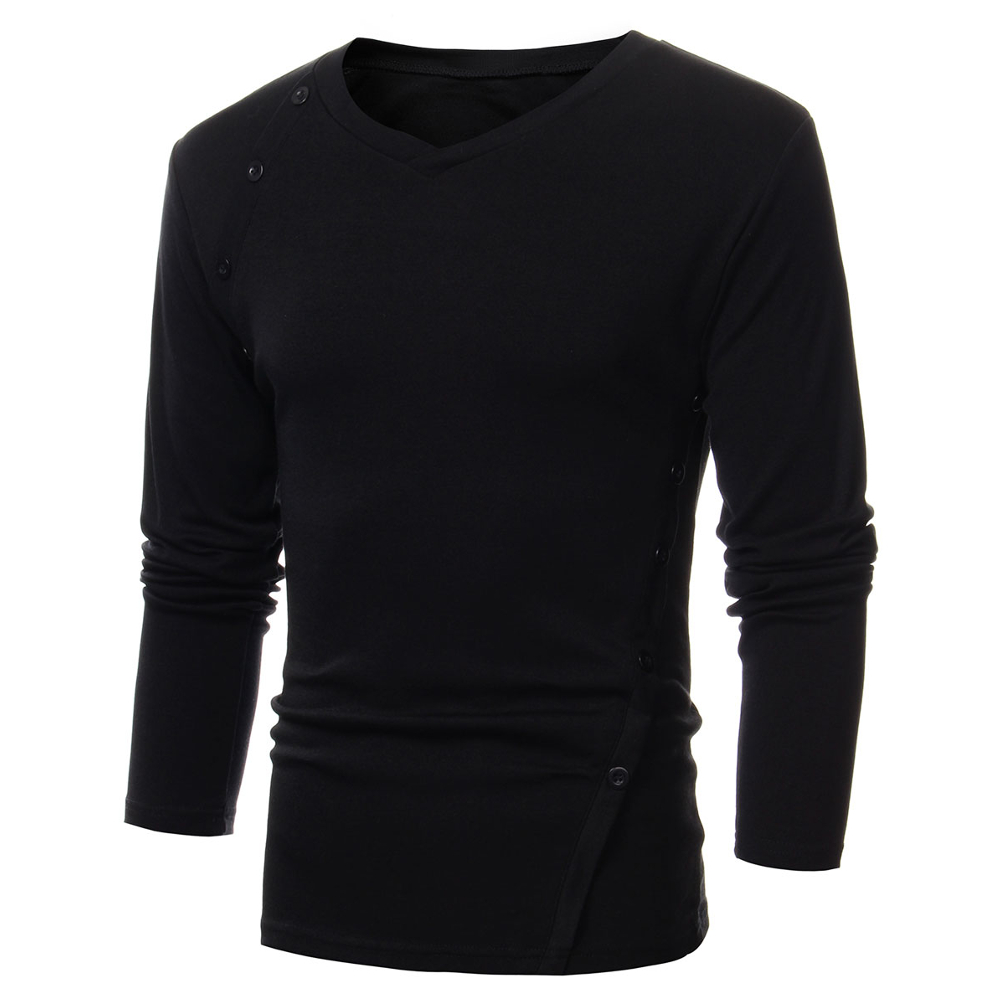 Oem casual mens slim fit stylish tops long sleeve v neck t for Made to measure casual shirts