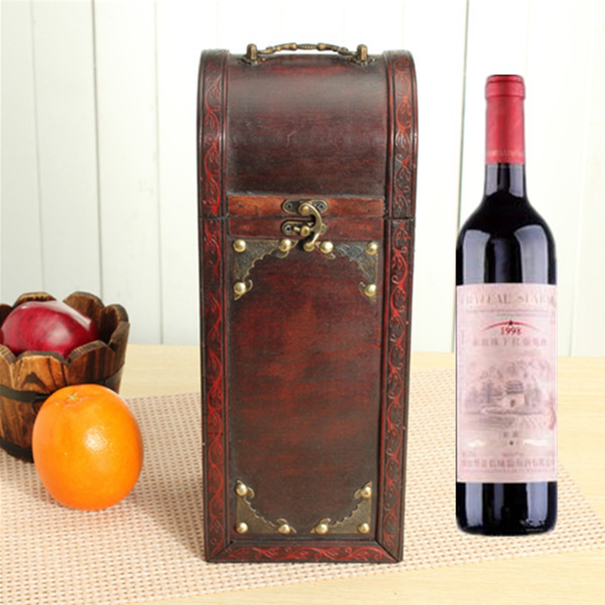 Retro lock wood wine box storage box with handle gift at for Timber wine box