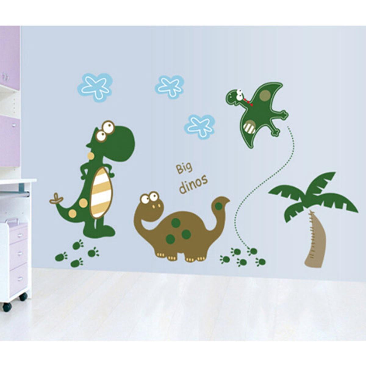 Wall sticker dinosaurs reusable cartoon wall mural for Cartoon wall mural