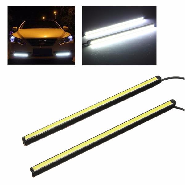 Pair 20CM COB LED DRLデイタイムランニングライト 車用ストリップ フォグライト テールランプ