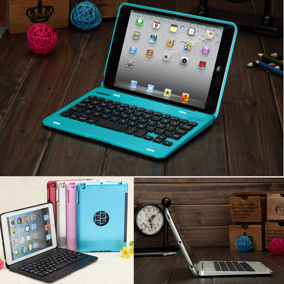 2in1 Bluetooth Keyboard Stand Cover Holder For IPad Mini 1