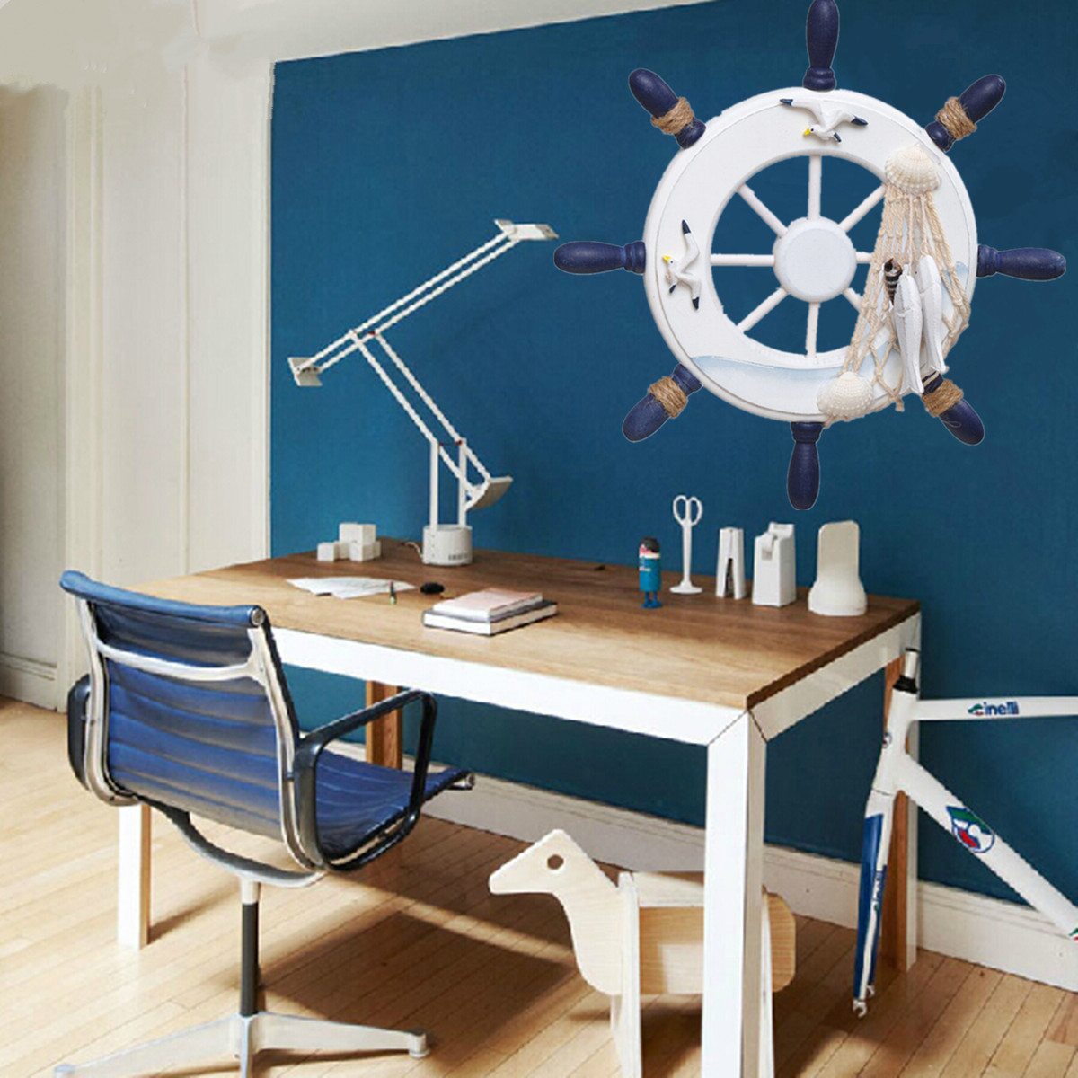 Wood boat ship wheel nautical decoration beach home rudder for Ship decor home