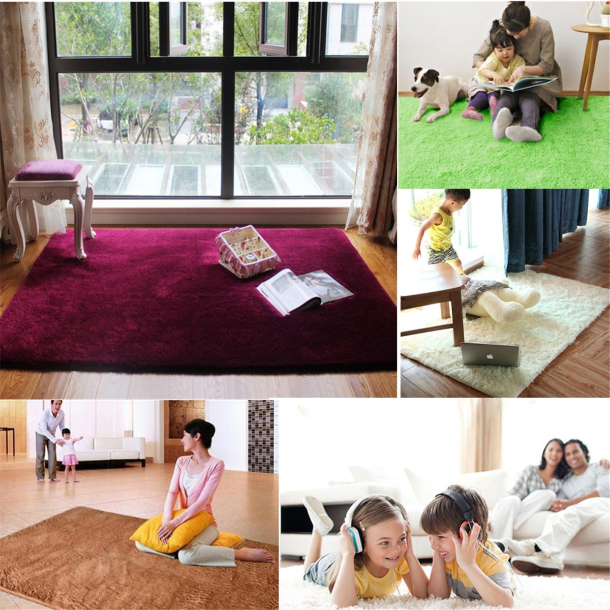 Living Room Carpet Rugs Shaggy Anti Skid Carpets Rugs Floor Mat Cover 80x120cm Khaki